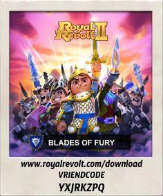 Ik hoor bij alliantie BLADES OF FURY. Wil je ook lid worden?  Download Royal Revolt 2 op je mobiele apparaat: www.royalrevolt.com/download    Start het spel en ontvang een EPISCHE beloning door deze vriendcode in te vullen: YXJRKZPQ