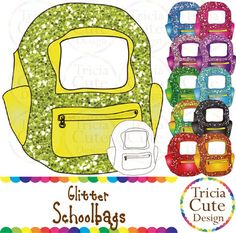 Glitter Schoolbags Backpacks Clipart! Contained in the zip file are 12 PNG files with transparent background , 300dpi and high resolution.This set includes 11 colored images and 1 black and white image.They are great for decorating your worksheets!!You might also like:Glitter Books Clip ArtTerms of Use:You may use these files for personal or small commercial purposes, for example, on your TpT products and worksheets.