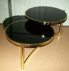 Mid Century Modern Space Age Brass Black Glass 3 Tier Swivel Coffee Table Italy | eBay