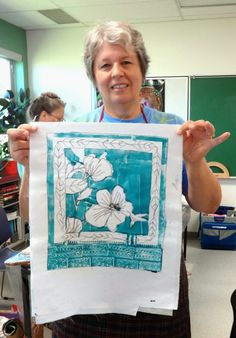 Did they land Gelli Side Up? - Win Dinn  Eileen was so keen that she went home at the end of the Saturday's class with one of her prints and over-stitched it to incredibly beautiful result...isn't this a corker?