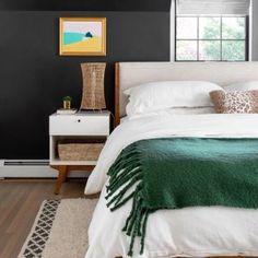 Modern Bed Master Bedroom Minimalist, Master Bedroom Design, Modern Bed Linen, Bed Design, House Design, West Elm Bedding, Reclaimed Wood Beds, Bedroom Styles, Bedroom Decor