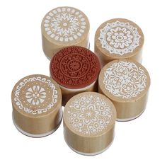Amazon.com : 6 Assorted Wooden Rubber Stamp Round Shape Handwriting Floral Flower Craft : Business Stamps : Office Products