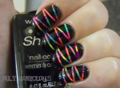Dot a bunch of different colors of polish on, then do the stripes and paint the black on top.
