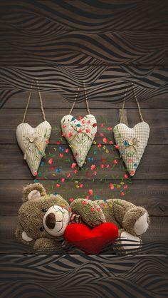 Hearts and Teddy Bear Wallpaper Bear Wallpaper, Love Wallpaper, Beautiful Flowers Wallpapers, Cute Wallpapers, Cellphone Wallpaper, Iphone Wallpaper, Scandinavian Bedding, Teddy Bear Day, Teddy Bears