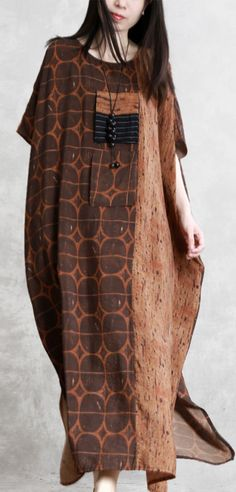 35edc1b97224 Bohemian o neck patchwork silk clothes For Women chocolate dotted Dress  summer