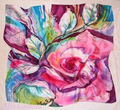 """Платок """"Роза"""" Плотный атлас, 90*90 Свободная роспись + горячий батик. Краски разные."""