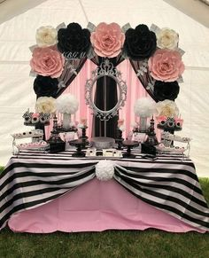 Paper flower backdrop in colors white, pink, black and silver used for a CHANEL theme babyshower. Thank you for trusting us Beautiful candy table set up made by go take a look for her amazing work! Chanel Birthday Party, Paris Themed Birthday Party, Chanel Party, Barbie Birthday, Barbie Party, Spa Birthday, 30th Birthday Party For Her, Birthday Ideas, White Table Settings