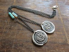 Hand Stamped Victorian Wax Seal Monogram and Birthstone SINGLE or MULTI Strand Sterling Silver Necklace