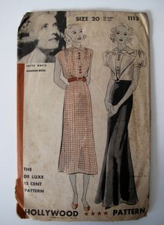 Hollywood 1113 featuring Bette Davis | 1930s Day or Evening Dress pattern with bolero