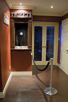 Ticket Booth and a lone flat rope stanchion with velour rope attached wall plate. Diy Movie Theater Room, Movie Bedroom, Basement Movie Room, Best Home Theater, Home Theater Design, Cinema Room, Movie Rooms, Dream Theater, Diy Image