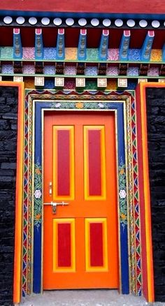 Colorful door in Sikkim Cool Doors, Unique Doors, Entrance Doors, Doorway, Fonda Paisa, When One Door Closes, Door Gate, Painted Doors, Closed Doors