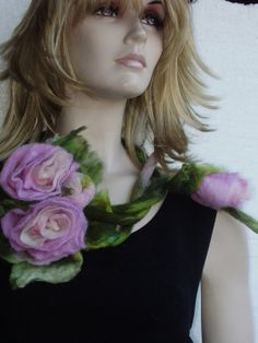 Felted Pastel pink Rose Flowers Bouquet with Leaves von Evgene, $39.00