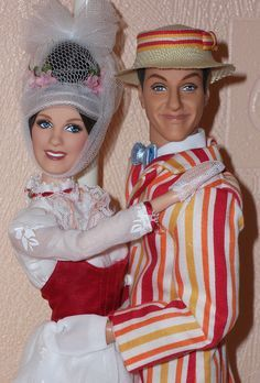Mary Poppins with Bert by paddingtonrose / Barbie Collection Celebrity Barbie Dolls, Barbie I, Vintage Barbie Dolls, Barbie World, Barbie Clothes, Mary Poppins, Madame Alexander, Hallowen Costume, Frozen Costume
