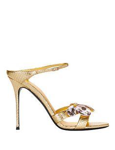 Giuseppe Zanotti Bejeweled Stamped Metallic Slide Sandal: Gold