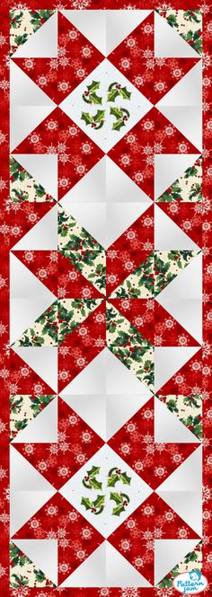 PatternJam - FREE Online Quilt Pattern Designer Source by st_groppen Quilted Table Runners Christmas, Christmas Patchwork, Patchwork Table Runner, Christmas Quilt Patterns, Christmas Placemats, Christmas Runner, Table Runner And Placemats, Crochet Table Runner, Purple Christmas