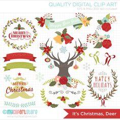 It's Christmas Deer Clip Art / Digital Clipart por MyClipArtStore