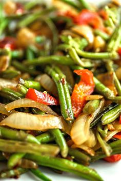 Green Beans Asian Style - Beautifully caramelized onions and peppers are sweet t. - Green Beans Asian Style – Beautifully caramelized onions and peppers are sweet to the taste and m - Veggie Side Dishes, Vegetable Sides, Side Dish Recipes, Food Dishes, Vegetable Dish, Asian Side Dishes, Green Vegetable Recipes, Recipes For Vegetables, Tasty Vegetable Recipes