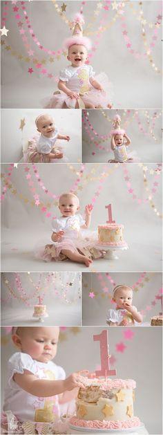 Tinsley – Pink & Gold Twinkle Little Star Birthday Cake Smash - Birthday Cake Blue Ideen Smash Cake Girl, 1st Birthday Cake Smash, Girl Birthday Themes, Baby Girl Birthday, First Birthday Parties, Birthday Decorations, Smash Cakes, Birthday Ideas, Birthday Backdrop