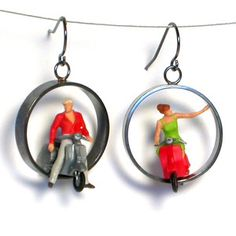 Scooter Rider Earrings, $88, now featured on Fab. by Kristin Lora