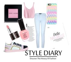 """""""Pastel"""" by lovefrombxdlxnds on Polyvore featuring Casetify, J Brand, Bobbi Brown Cosmetics and Sophia Webster"""