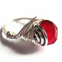 Wire Wrap Ring Red Glass Fashion Jewelry by gimmethatthing on Etsy
