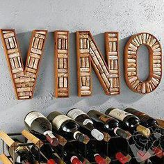 VINO sign made out of corks.