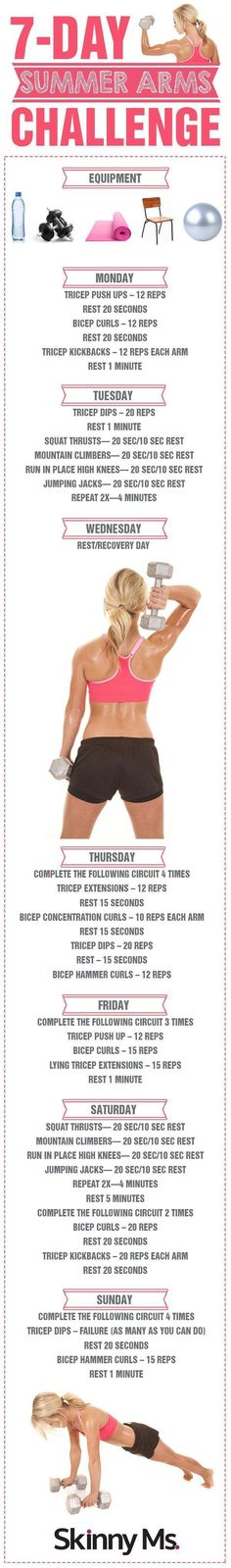 Arms Challenge - Seven Day Arm Workout Routine for Women 7 Day Summer Arms Challenge - there is no better time to get those beautifully toned and defined Day Summer Arms Challenge - there is no better time to get those beautifully toned and defined arms! Fitness Motivation, Fitness Diet, Health Fitness, Fitness Plan, Arm Challenge, Workout Challenge, Workout Plans, Challenge Accepted, Workout Routines For Women