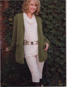 Cable Knit Cardigan, Knit Crochet, Free Knitting, Sweaters, Crochet Patterns, Green, Style, Fashion, Swag