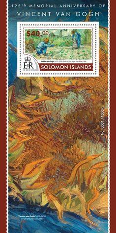 Post stamp Solomon Islands SLM 15318 b125th memorial anniversary of Vincent van Gogh (1853–1890. Detail of First Steps, after Millet, 1888)