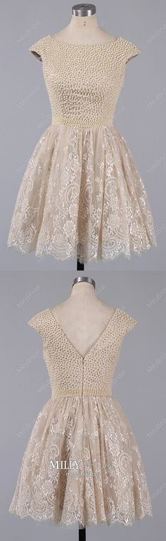 Champagne Homecoming Dresses Short, Lace Prom Dresses for Teens, Elegant Cocktail Party Dresses Open Back, Classy Graduation Dresses Cap Straps Champagne Homecoming Dresses, Vintage Homecoming Dresses, Straps Prom Dresses, Graduation Dresses, Prom Dresses Online, Dresses For Teens, Pageant Dresses, Party Dresses, Prom Gowns