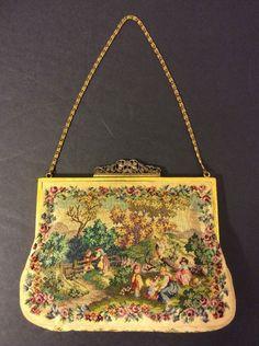 Antique Art Nouveau Maria Stransky Petit Point Needlepoint Bag Purse Picnic Cow | eBay