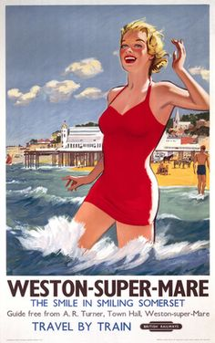 Vintage travel poster produced by British Railways BR to promote train services to Weston-super-Mare in Somerset Artwork by an unknown artist This is Posters Uk, Train Posters, Railway Posters, 1950s Posters, Event Posters, Vintage Poster, Vintage Travel Posters, Vintage Postcards, Weston Super Mare