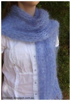 A simple, but beautiful Mohair scarf.  Click through for free instructions.