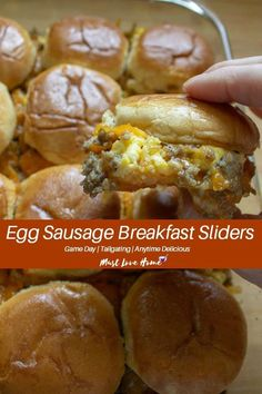 Juicy, tangy and sweetened with maple, Egg Sausage Breakfast Sliders are a delicious way to get Game Day or any day started. Tailgaters and party-goers alike will rave over these easy to make sliders bursting with herb laced eggs, mild sausage and melted Breakfast Slider, Camping Breakfast, What's For Breakfast, Sausage Breakfast, Breakfast Dishes, Breakfast Recipes, Breakfast Tailgate Food, Best Breakfast Foods, Gourmet Breakfast