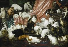 Cat Painting - My Wife's Lovers by Carl Kahler