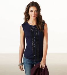 AE Sequined button front tank- super love this! In navy, Size small. (of course they don't show my size online!) I love the gray but wouldn't want it to show all the sweat and the white doesn't show sequins well...