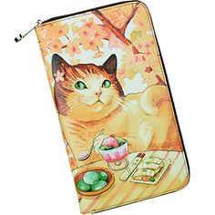YALUXE Womens Cute Animal Print Large Leather Clutch Zipper Wallet Smartphone Checkbook Holder Cat Yellow * You can get more details by clicking on the image.
