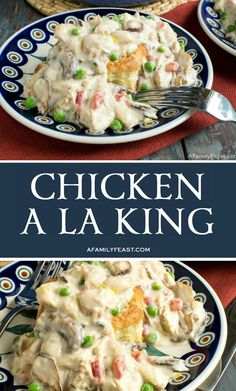 Chicken a la King has tender chunks of chicken, mushrooms, and vegetables in a rich and creamy sauce, served in a puff pasty shell. Chicken Mushrooms, Stuffed Mushrooms, Stuffed Peppers, Garlic Mushrooms, Casserole Dishes, Casserole Recipes, Le Diner, Asian, I Love Food