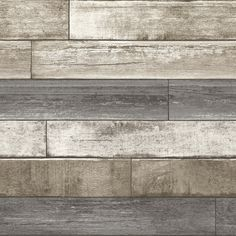 A Street Prints Weathered Plank Wallpaper - Weathered wooden planks with a cream, taupe and grey paint effect.