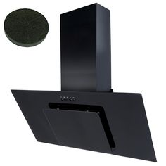 SIA 90cm Black Angled Glass Chimney Cooker Hood Extractor + Carbon Filter