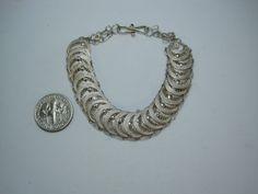 """Vintage Sterling Silver Shield Design Bracelet 6.5"""""""