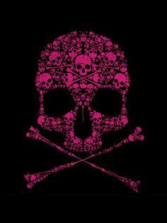 Black and Pink Skull and cross bones of skulls and cross bones. Pink Skull Wallpaper, Black Wallpaper, Sugar Skull Art, Sugar Skulls, Skull Pictures, Skull Artwork, Skull Island, Skulls And Roses, Skull Design