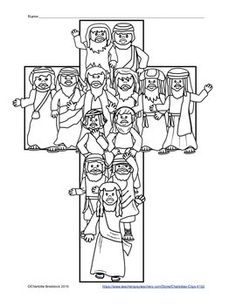 This free printable features the 12 apostles in the shape of a cross with Jesus in the lead.This printable could be used as a journal cover, story starter, or coloring sheet. If you like this printable, you may want to check out:Jesus and the 12 Apostles Clip Art SetJesus Fishers of Men Clip Art Set