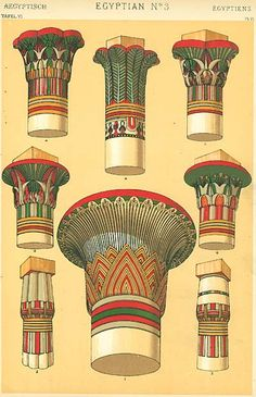 We may imagine it the custom of the Egyptians in early times to decorate the wooden posts of their primitive temples with their native flowers tied round them; and this custom, when their art took a more permanent character, became solidified in ther monuments of stone. The lotus and papyrus form the type of fifteen of the capitals we have selected for illustration; yet how ingeniously varied, and what a lesson do they teach us!