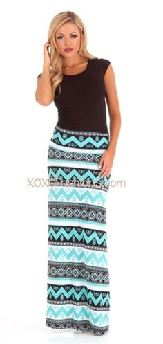 Mint Aztec Maxi Skirt | Affordable and Trendy Boutique Clothing | Cute Spring Maxi Skirts