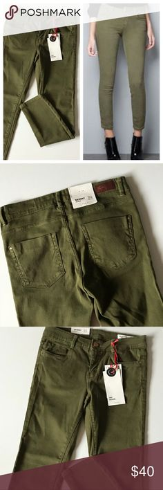 Zara army green skinny jeans. NWT Zara army green cropped skinny jeans. Size 4 (I think these fit smaller - check measurements). Waist: 13"