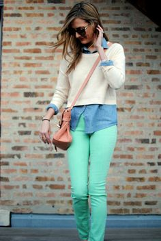 mint green pants are hard to come by lately... everyone's nabbing a pair