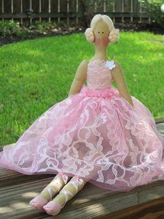 Fabric doll pink ballerina doll cloth doll by HappyDollsByLesya