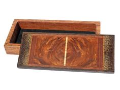 """Handmade box by J. Seaton with a lid of rare Amboya wood, purpleheart,m blackpalm, wenge, maple, and African bubinga. The body is made from bubinga and is 1 1/2""""D. Each box is completely handmade using rare and exotic woods. Each is created spontaneously and no two are ever exactly alike. Each is sanded seven times to a satin smooth surface and finished in an oil and wax finish. Size: 13 3/8""""L x 6.0""""W x 2 1/2""""H   Price: $425.00  -- on ScrimshawGallery.com #woodworking #jewelrybox"""