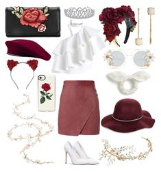 """""""Untitled #39"""" by royalfailure on Polyvore featuring Michelle Mason, Chicwish, San Diego Hat Co., LC Lauren Conrad, Cara Accessories, J.Crew, Nina, Casetify and Twigs & Honey"""